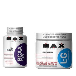 Bcaa 1,2 Max Titanium 120 Tabs + Glutamina Max Titanium