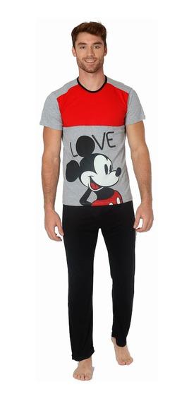 Pijama Para Hombre Mickey Mouse Pantalon Y Playera 100081