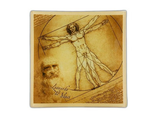 Plato En Cristal Cuadrado 13 Cm Hombre De Vitruvio Da Vinci