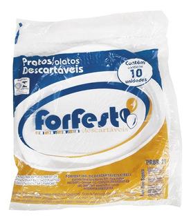 Prato Descartável Plástico Branco 21 Cm Com 500 Unidades
