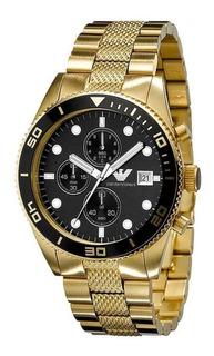 Relógio Emporio Armani Ar5857 Dourado Original Cronógrafo