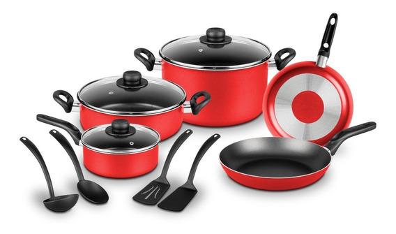 Batería De Cocina 12 Pzas Ekco Rojo Antiadherente Duraflon®