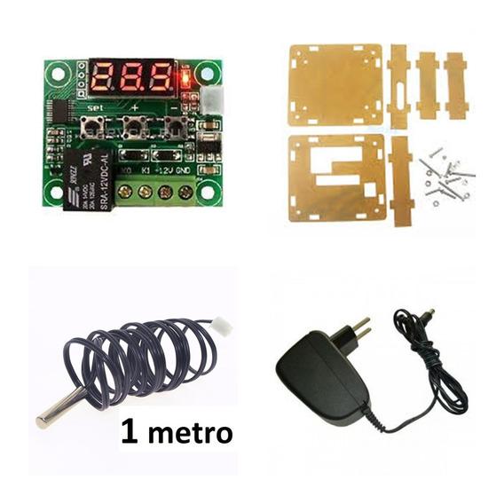 Kit W1209 Rele Integrado + Case + Fonte 12v 0.5a + Ntc 1m