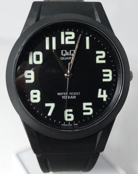 Relógio Q&q By Citizen Preto Número Verde Borracha Vq50j004y
