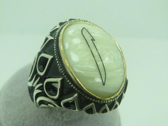Anillo Turco Otomano De Plata Talla 11 (perla) A197