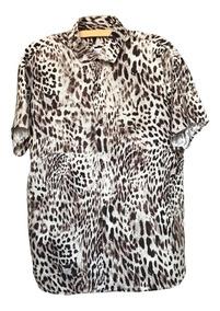 Camisa Slimfit De Botão Estampada - Animal Print Lançamento