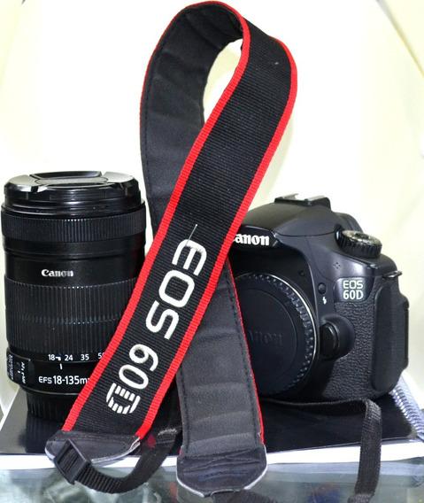 Camera Canon 60d Com Lente 18-135 Com Manual E Caixa