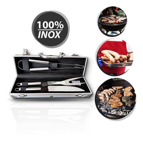 Imagem 1 de 6 de Kit Churrasco Faca Garfo Pegador Aço Inox Cozinha + Maleta