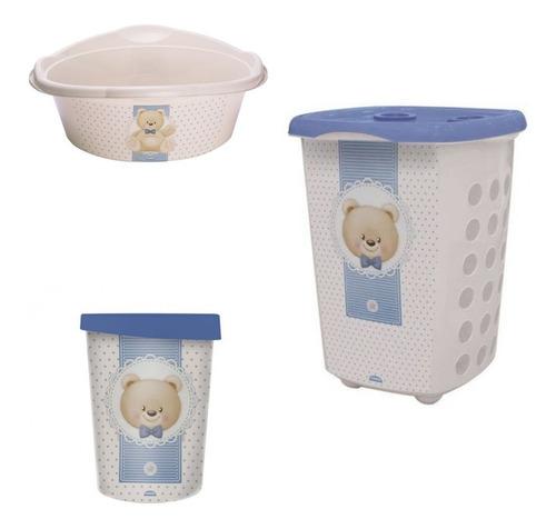 Kit Banho P/bebê 01 Bacia 01 Cesto 01 Lixeira Urso Ted