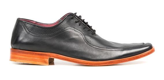Tremendo Zapato Hombre Sport Negro Suela Cuero Picado