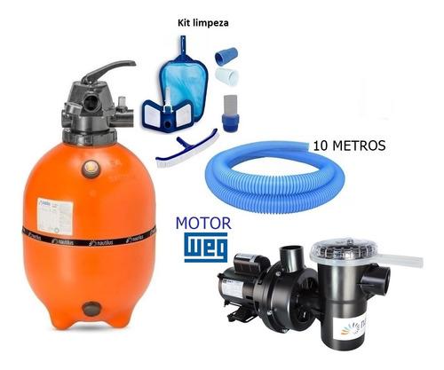 Filtro F450p Com Moto Bomba Nbfc-2 Nautilus Para Piscinas Até 52 Mil Litros De Água Com Kit Limpeza E 10 Mts Mangueira