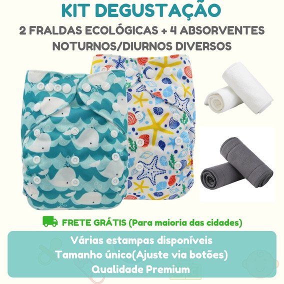 Kit 2 Fraldas Ecológicas Modernas + 4 Absorventes + Brinde