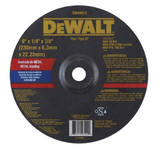 Disco Desbaste 9 Metal Inoxidable Dewalt Dw 44613 - Coiro