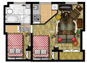 Minidepartamento Con 2 Dormitorios, Una Sala 1 Cocina