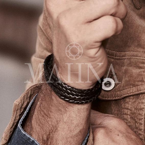 Pulseira Bracelete Masculina Couro 4 Voltas Rommanel 250286