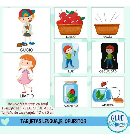 Kit Imprimible Tarjetas Lenguaje Opuestos Picto- Formato Pdf
