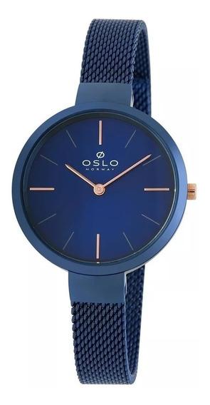 Relógio Oslo Oftsss9t0011 D1dx Slim Azul Original Lindo