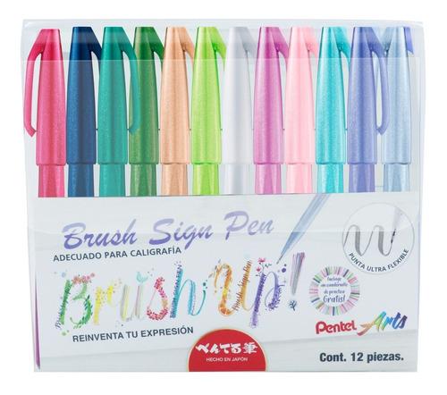 Imagen 1 de 4 de Plumin Brush Sign Pen  Pentel Ses15c-m2-12est