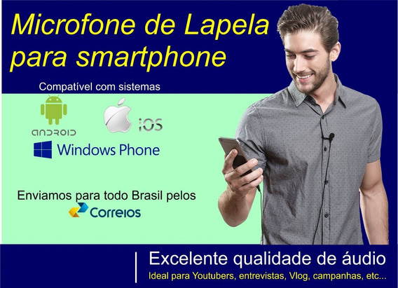 Microfone Lapela Para Smartphones Android