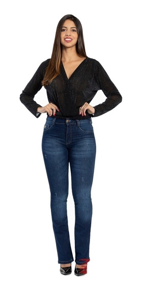Calça Feminina Jeans Cal Fit Biotipo Cintura Media Azul