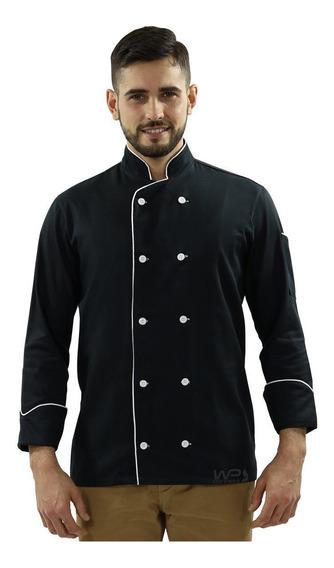 Jaqueta Chef Masculino Uniforme Doma Preto Restaurante