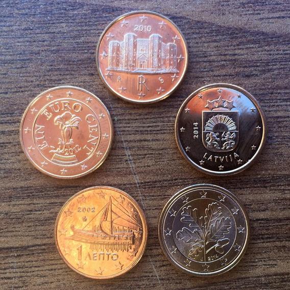 Europa - Lote 5 Monedas 1 Centavo De Euro ¡ Surtidas !