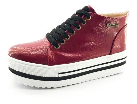 Tênis Flatform Quality Shoes 006 Vermelho Sola Alta Com Deta