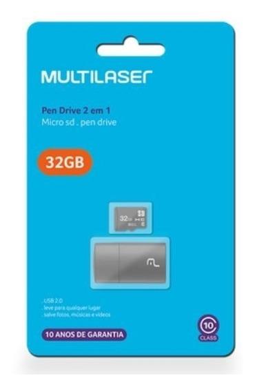 Cartão Memoria 32gb + Adaptador Usb Multilaser Promoção 10 Anos Garantia Nfe