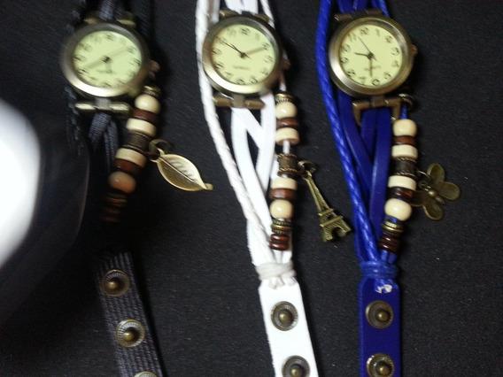 Relógio Feminino Analógico Vintage Pulseira Couro Pingente