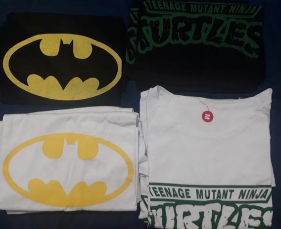 Remera Escote Redondo De Batman Y Tortugas