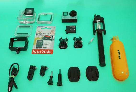 Gopro Hero 4 Silver + Lcd + Cartão 16gb + Wifi + Acessórios + A Vista 950,00