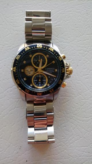Reloj Caballero Pulsera J Springs Negro Plata Dorado Elegant