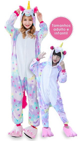 Unicórnio Pijama Infantil E Adulto - Brinde Necessaire