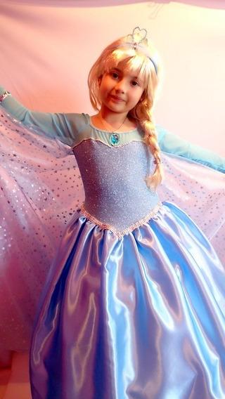 Vestido Disfraz Elsa Frozen Princesas Disney Con Tiara!