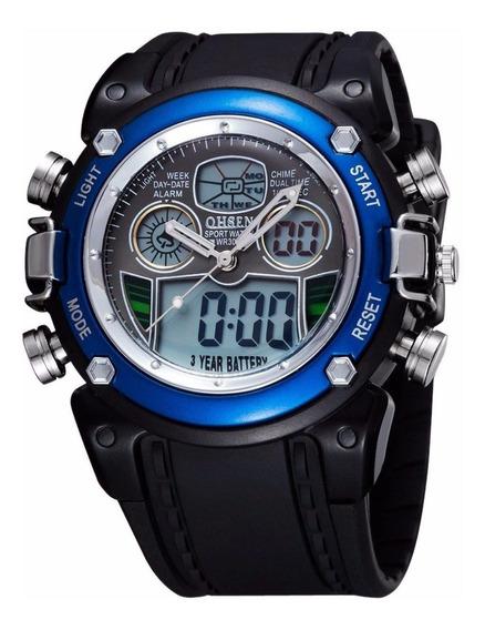 Relógio Masculino Pulso Ohsen Digital Analógico Azul Barato