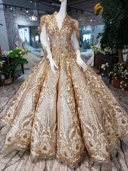 Vestido Xv Años Quinceañera 15 Años Alta Costura Dorado Gold