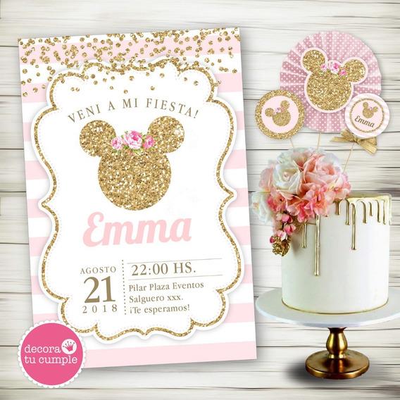 Kit Imprimible Minnie Rosa Dorado Babyshower Cumpleaños