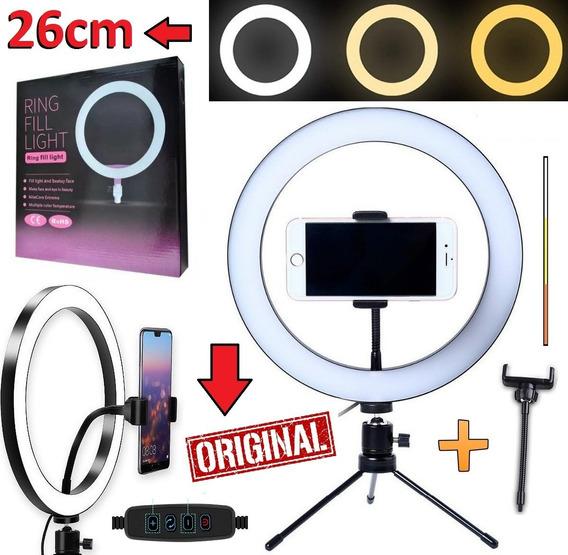 Kit Completo Ring Light 26cm Suporte Celular Tripé Youtuber