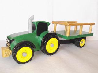 Juguete Artesanal Tractor Con Trailer De Madera