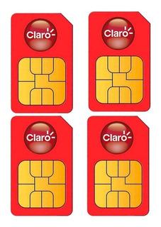 4 Unidades Sim Cards Celular Redes 4g Lte Claro