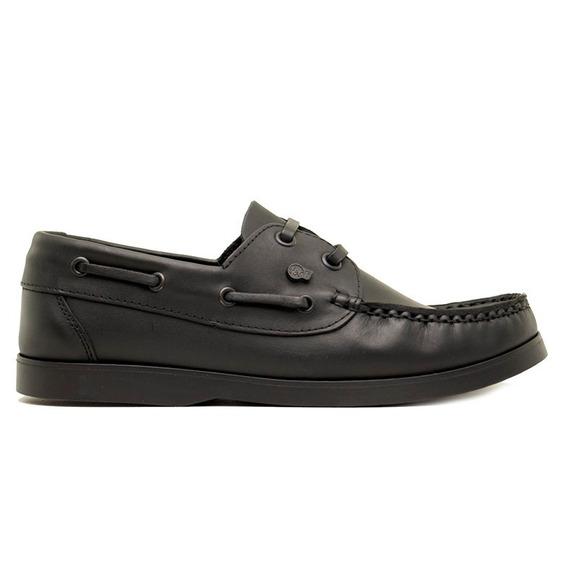 Colegial Zapato Nautico Varon Niño Cuero Vacuno Cocido Negro