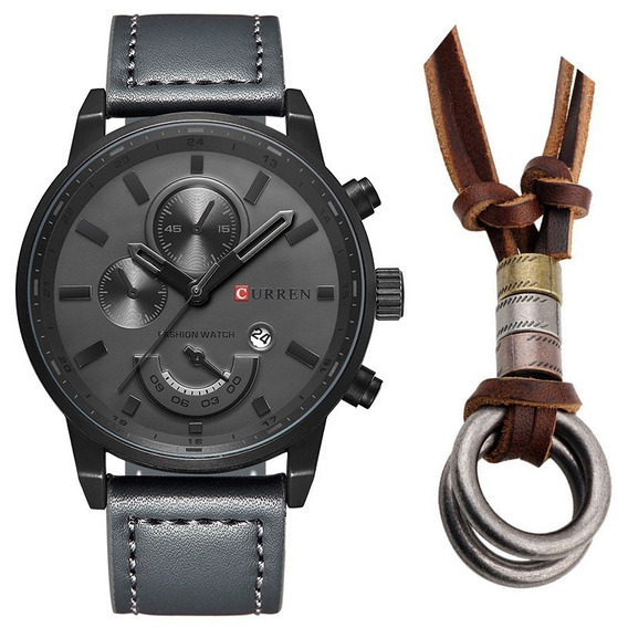 Relógio Masculino Original Curren Aço Inox + Colar Em Couro