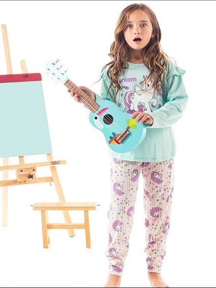 Pijama Unicornio Invierno De Nena Talle 6, 12 Y 14