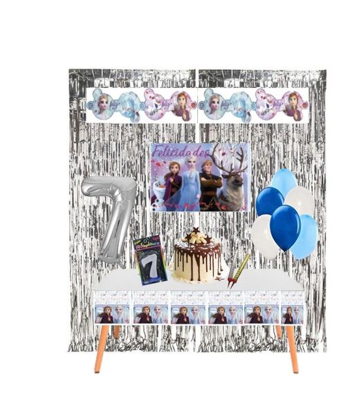 Kit Cumpleaños En Casa Decoración Cumple Virtual Frozen