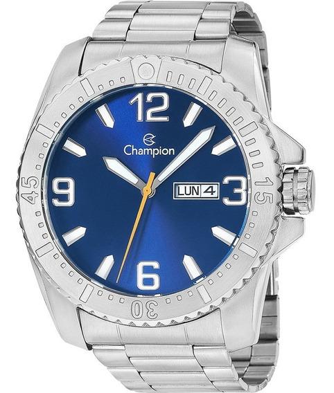 Relógio Masculino Prata Calendário Duplo Champion Ca31588f