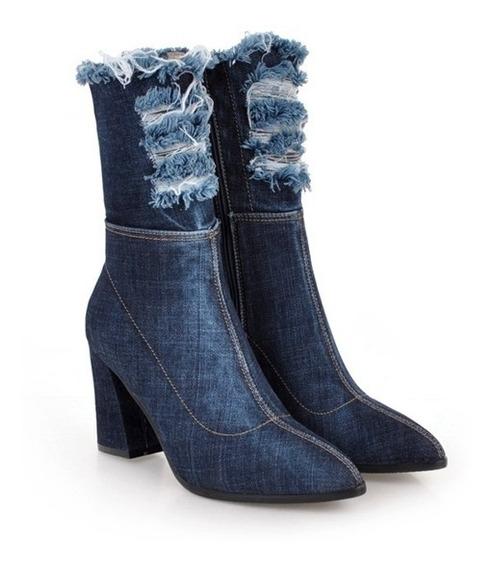 Linda Bota Jeans Feminina Cano Curto 3 Cores Tamanho 33 A 41