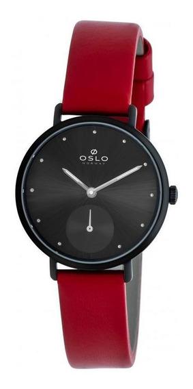 Relógio Oslo Feminino Preto E Vermelho Ofpscsvd0001 P1vx