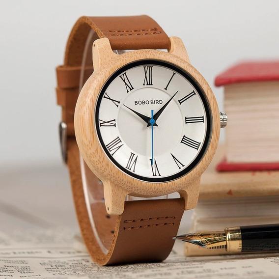 Relógio Unissex Bambu Madeira Anal. Bobo Bird Q15 + Promoção