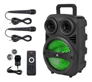 Parlante Portátil Bluetooth Usb Luces Led + 2 Micrófonos