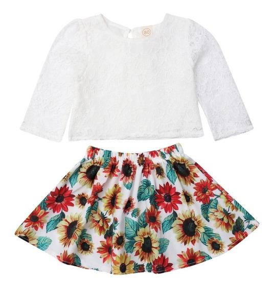 Conjunto Infantil Saia Estampa De Girassol+blusa Cropped 3-5